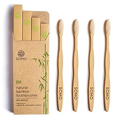 Somo Natural Bamboo Adult Toothbrush, Organic Plant Based Soft BPA Free Bristles Eco Friendly Biodegradable Wooden - Pack of 4