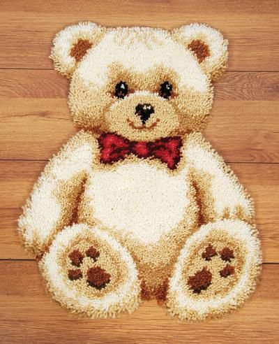 Vervaco 2566/37.055 | Teddy With Red Heart Rug Latch Hook Kit | 45 x 60cm ()
