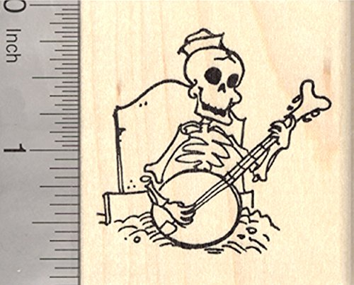Skeleton Rubber Stamp, Playing Banjo from his Grave, Day of the Dead, Halloween, Día de Muertos]()
