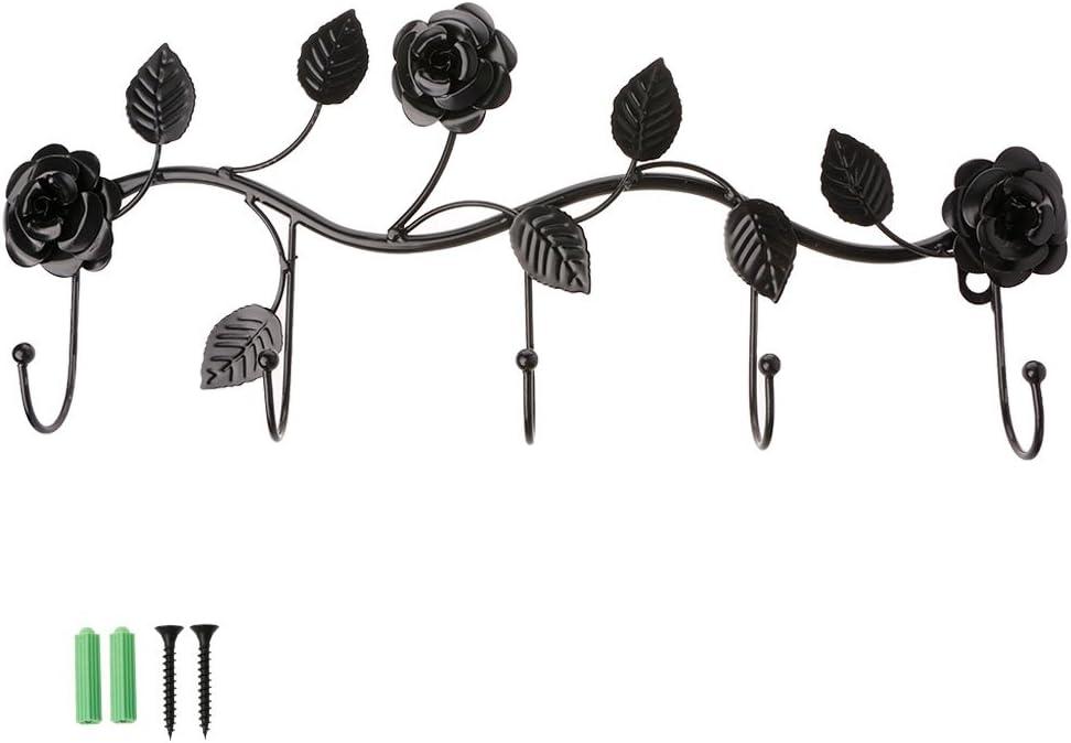 KINTRADE Vintage Rose Colgante de Pared Gancho de Hierro Forjado Ropa Sombrero Bolsa Percha Organizador Titular Decoración de Pared - Negro