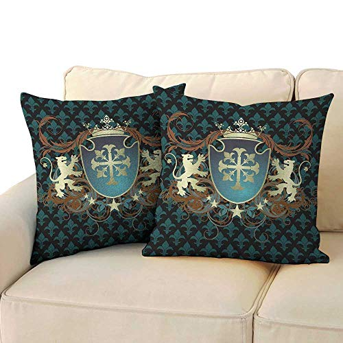 RenteriaDecor Medieval,Pillowcase Pattern Heraldic Design of a Middle Ages Coat of Arms Cross Crown Lions Swirls 16
