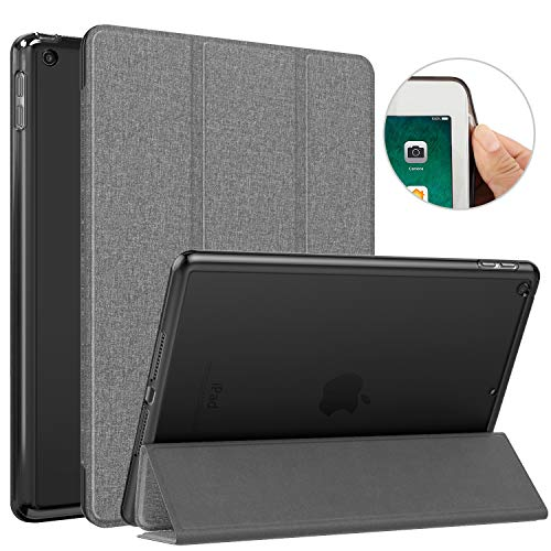 """MoKo Case Fit 2018/2017 iPad 9.7 6th/5th Generation, Slim Lightweight Smart Shell Stand Cover with Auto Wake/Sleep, Translucent Frosted Back, Corner/Bumper Protector Fit iPad 9.7"""" - Denim Dark Gray"""