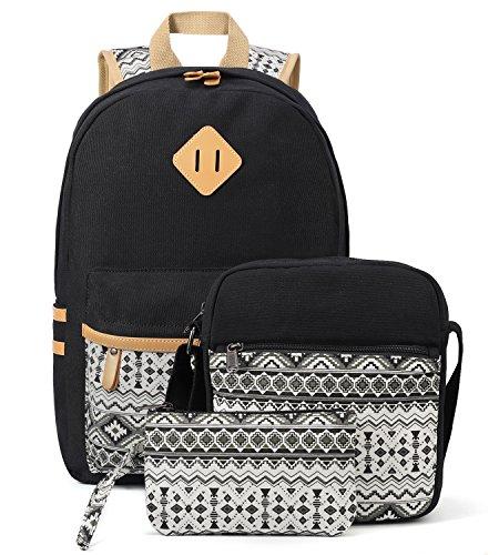 Plambag Canvas Backpack Set 3 Pcs, Casual Lightweight School Backpack for Women Teen Girls Black