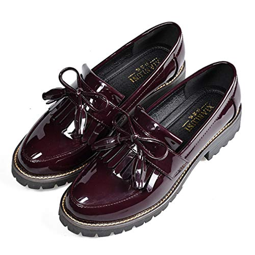 Women's Penny Loafers Flat Low Heel Bow Tassel Patent Leather Slip On Oxfords Shoes Wine Red