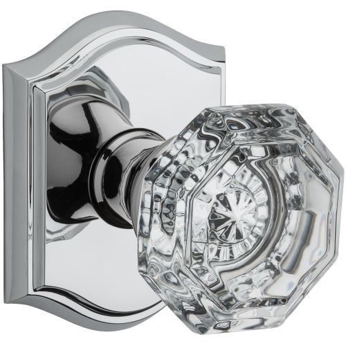 Baldwin PS.CRY.TAR Crystal Passage Door Knob Set with Traditional Arch Trim from, Polished Chrome ()