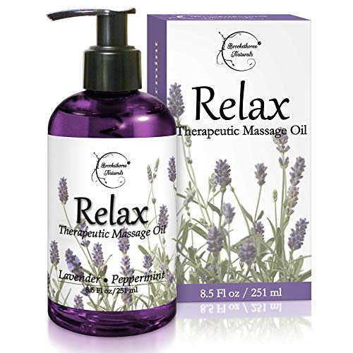 Relax Therapeutic Body Massage Oil - with Best Essential Oils for Sore Muscles & Stiffness - Lavender, Peppermint & Marjoram - All Natural - with Sweet Almond, Grapeseed & Jojoba Oil 8.5oz