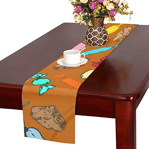 WJJSXKA Candy Sweet Color Girl Hand Drawn Table Runner, Kitchen Dining Table Runner 16 X 72 Inch for Dinner Parties, Events, Decor ()