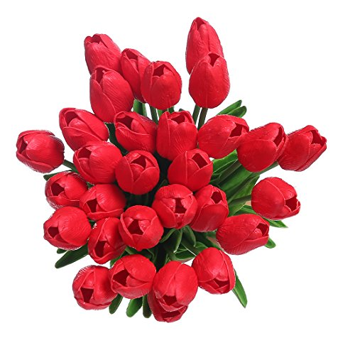 Veryhome PU Fake Tulip Artificial Flower Real Touch for Wedding Room Home Hotel Party Decoration and DIY Welcome Door Wreath Decor (20pcs, (Red Tulip)