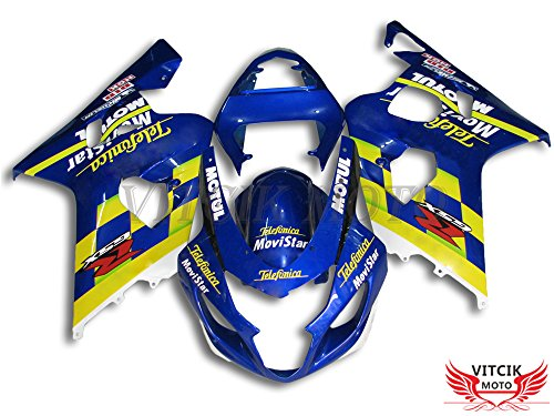 VITCIK (Fairing Kits Fit for Suzuki GSX-R750 GSX-R600 K4 2004 2005 GSXR 600 750 K4 04 05) Plastic ABS Injection Mold Complete Motorcycle Body Aftermarket Bodywork Frame (Blue & Yellow) A066