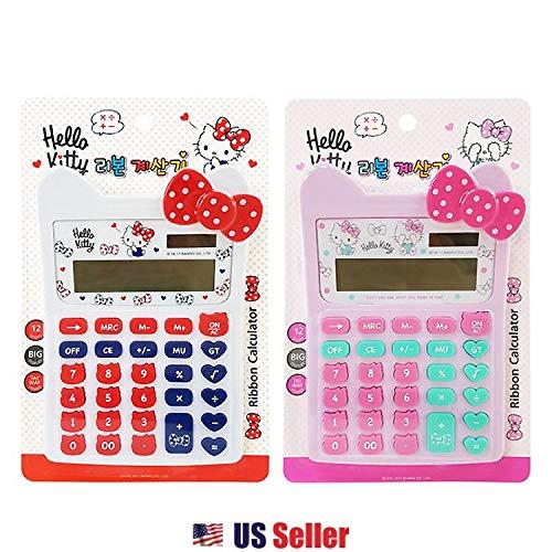 4fcdabb39 Sanrio Hello Kitty 12 Digits Solar Powered Calculator - Ribbon (2 Designs)  (White