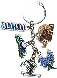 Colorado's Attractions 5 Charm Souvenir Keychain- Made by CityDreamShop.com
