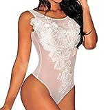 Women Halter Sexy One Piece Lingerie Lace Teddy Bodysuit Sleepwear White