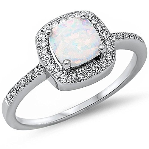 Princess Cut Lab Created White Opal & Cz Fashion .925 Sterling Silver Ring Size 9 (Diamond Created Opal Ring)