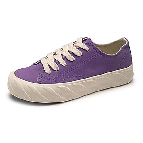 TTSHOES Per Donna Scarpe Di Corda Primavera Estate Comoda Sneakers Footing  Piatto Punta Tonda Viola  4cae8b0e387