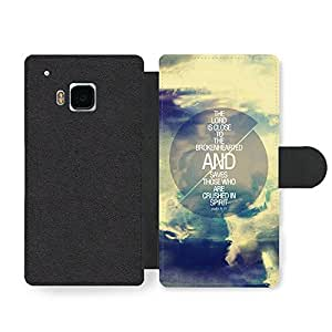 The Lord is Close to the Broken hearted Bible Jesus Life Inspirational Quote Faux Leather case for HTC One M9 by icecream design