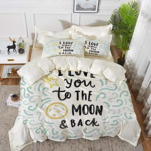 (Yaoni Bedding - Duvet Cover Set,I Love You,Cartoon Style Sweet Dreams Children Sibling Love Friends Baby Kids Theme Dec,Hypoallergenic Microfibre Duvet Cover Set 68