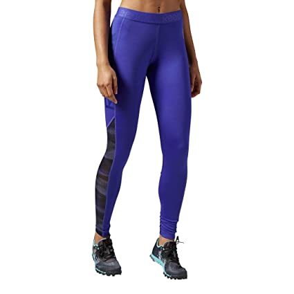 Reebok Women's Workout Ready Logo Tights, Small, Ultima Purple F14-R/