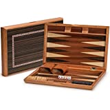 Yellow Mountain Imports Piano Lacquer Backgammon Game Set (13 Inches) - Wood Inlay Board Case Finish - Wooden Playing Pieces and Accessories
