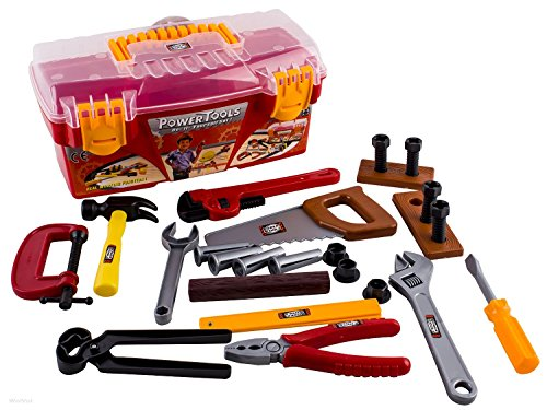 WolVol 26-piece Tool Box Set with Removable Tool Tray - Great Gift Toy for Boys (Plastic Tools Toy)