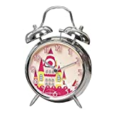 "Silent 4"" Large Kids Alarm Clock for Girls - Twin Bell - Strong Metal Frame –Analog non Ticking Clocks- Comfortably Loud - Back Light - ChildrenPink Castle"