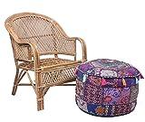 Jaipur Textile Hub JTH Decorative Indian Pouf Ottoman Round Patchwork Ethnic Floor Décor Ottoman (Size: 20X12X20 Inch) JTH-OP-FBA06