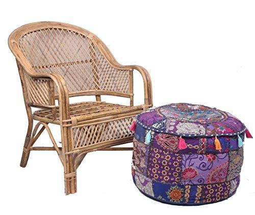 Jaipur Textile Hub JTH Decorative Indian Pouf Ottoman Round Patchwork Ethnic Floor Décor Ottoman (Size: 20X12X20 Inch) JTH-OP-FBA06 (Purple) (Ottoman Pouf Purple)