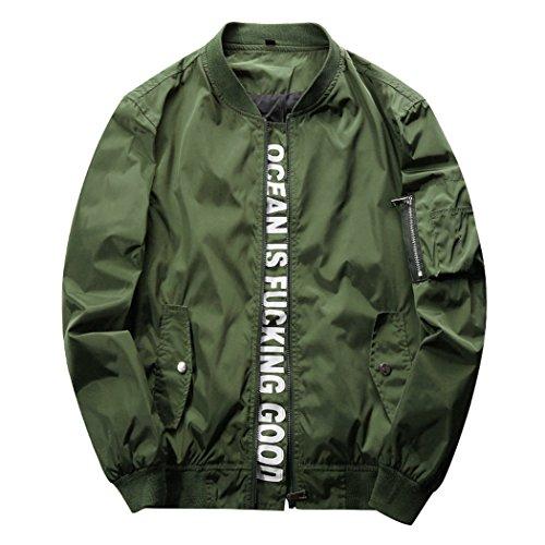 Real Spark(TM) Men Casual Baseball Bomber Softshell Lightweight Jacket Coats Army Green XL