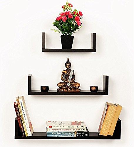 CraftVatika Juego de 3estantes de pared flotante en forma de U decorativo montado en la pared estante de almacenamiento...