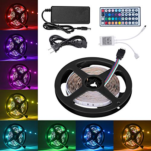 Led Strip Lights, 16.4ft LED Flexible Strip Lights, 150 Units 5050 RGB LED Light Strip Kit with 44Key Remote Controller and Power Supply,Non-Waterproof 12V DC, for Home Kitchen Bedroom Car (Flexible Led)