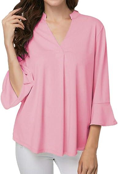 Zottom - Camisa elegante para mujer, cuello en V, mangas con volantes, irregular, suelta, camisa Rosa. M-36/38/40: Amazon.es: Ropa y accesorios