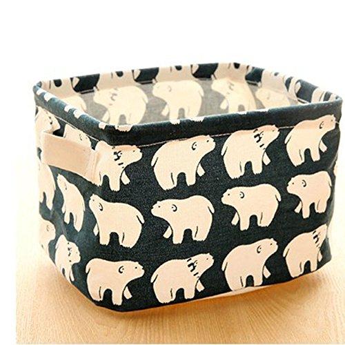 Money coming shop Cute Printing Cotton Linen Desktop Storage Organizer Sundries Storage Box Cabinet Underwear Storage Basket Fast Shipping(Polar bear)
