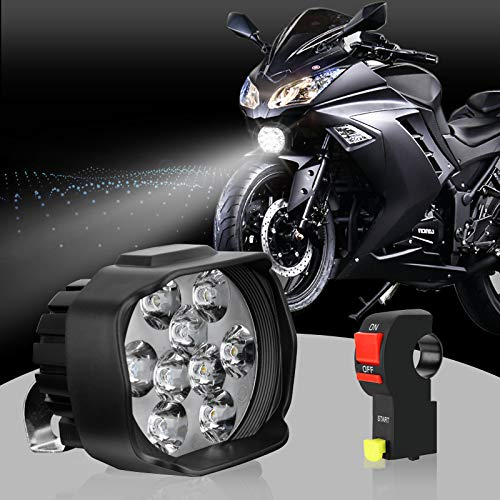 S&D LED Motorcycle Headlight Bulb with Switch, Universal Super Bright White Driving Fog Spotlight DRL High/Low Beam/Strobe Flashing Headlamp ()