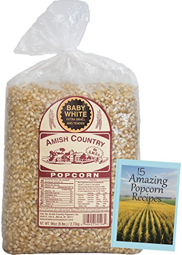 Amish Country Popcorn -Baby White Extra Small and Tender Popcorn - 6lb Bag with Recipe Guide