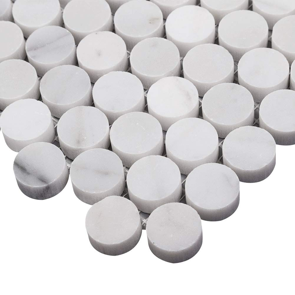 Diflart Italian White Carrara Marble Mosaic Tile Polished, 5 Sheets/Box (3/4'' Penny Round) by Diflart (Image #3)