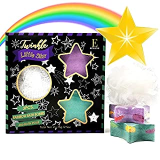 Shooting Star Luxury Bath Bombs - Gift Set - Unique Surprise Rainbow, Organic Essential Oil & Shea Butter, Bubble Bomb Spa Skin Care Gifts Ideas, Kids Girls Boys Women Mom Teens Birthday Valentines