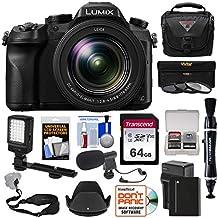 Panasonic Lumix DMC-FZ2500 4K Wi-Fi Digital Camera with 64GB Card + Battery & Charger + Case + LED Video Light + Microphone + Strap Kit