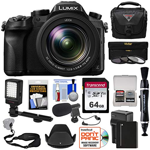 Panasonic Lumix DMC-FZ2500 4K Wi-Fi Digital Camera with 64GB Card + Battery & Charger + Case + LED Video Light + Microphone + Strap Kit For Sale