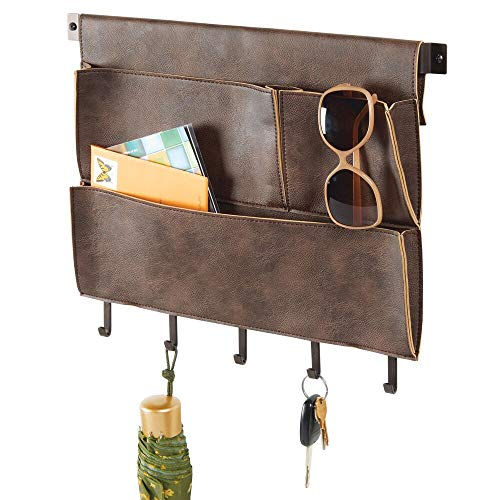 (mDesign Decorative Wall Mount Soft Leather Hanging Storage Organizer - Mail Sorter, Letter Holder, Key Rack - for Entryway, Bedroom, Home Office, Dorm Room - 3 Pockets, 5 Hooks, 17.5