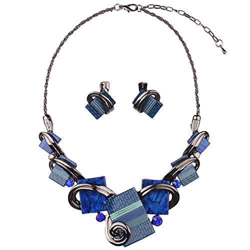 Running Bear Princess Costumes (Girl Era Womens Modern Art Square Laminations Resin Bib Statement Necklace & Stud Earrings Set(blue))