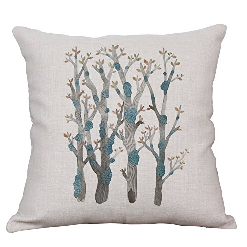 YeeJu Green Plant Decorative Throw Pillow Covers Cotton Linen Square Cushion Cover Outdoor Sofa Home Pillow Covers 20x20 Inch