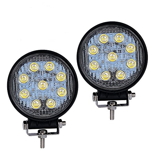 LED Light Bar YITAMOTOR 2Pcs 4Inch 27W Round LED Light Pods Work Light Flood Beam Off Road Driving Light Fog Lights Waterproof for Jeep Truck Car Boat Motorcycle ATV SUV 4WD 12V 24V,2 Years Warranty