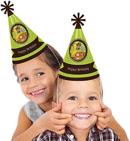 Funfari - Fun Safari Jungle - Cone Happy Birthday Party Hats for Kids and Adults - Set of 8 (Standard Size)