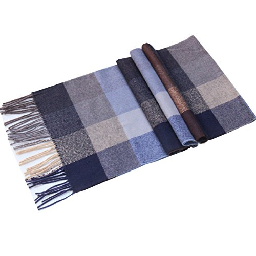 Lucky Leaf Women Men Winter Cozy Wool Warm Tartan Checked Plaid Wrap Scarf (Blue Brown Plaid)