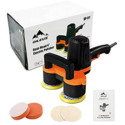 2017 OILEUS Polisher 4-Inch Dual Head Polisher and Buffer - 6 Variable Speed Efficient Random Orbit Sander with 4 × Polishing Pads