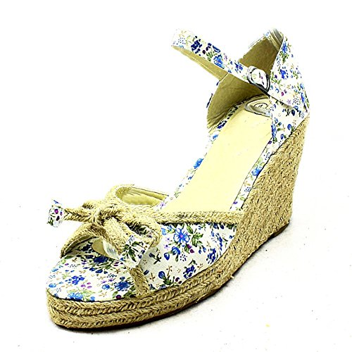 SendIt4Me Damas Sandalias de Cuña Peep Toe Mimbre de La Lona azul flores