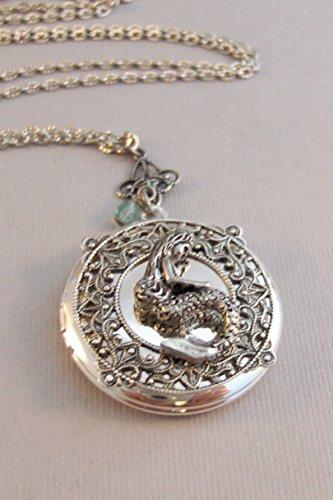 Locket Goddess (Little Siren,Locket,Mermaid, Mermaid Locket,Antique Locket,Silver Locket,Goddess,Ocean Locket,Handmade jewelry by valleygirldesigns)