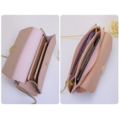 Chain Party Pink2 Evening With Clutch Casual Strap Leather PU For Envelope Handbag Bag Women Clutches NOTAG qgv6ZZ