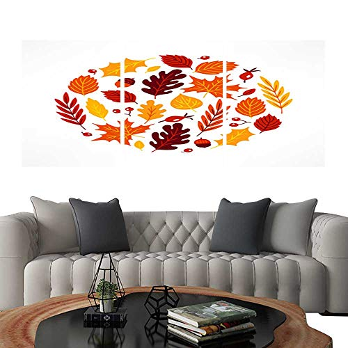 UHOO Prints Wall Art PaintingsCircle Ornament with Briar Berries Acorns Maple and Oak Leaves. Customizable Wall Stickers 12