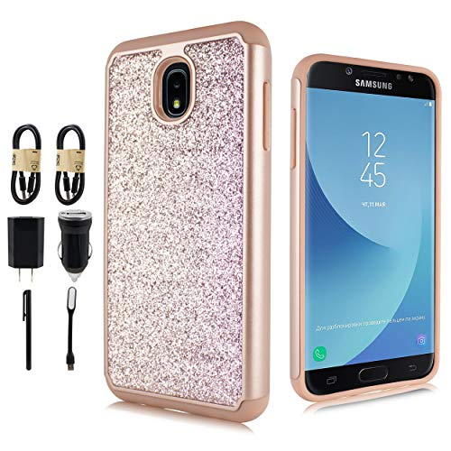 - for Samsung Galaxy J3 2018, J3V J3 V 3rd Gen,Express Prime 3, J3 Star, J3 Achieve, Amp Prime 3 Glitter Case Bling Dual Layer Protective Phone Cover [with Screen Protector] [Value Bundle] (Rose)