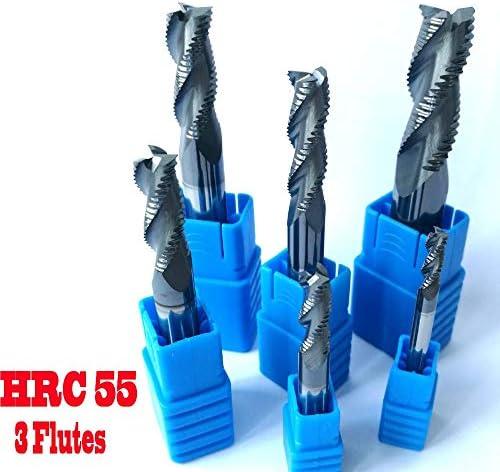 GENERICS LSB-Werkzeuge, 4mm 6mm 8mm 10mm 12mm HRC55 3 Schneiden Schruppen Schaftfräser Fräser CNC-Schruppwerkzeuge Hartmetallfräser Fräser (Dimensions : D12x75L)